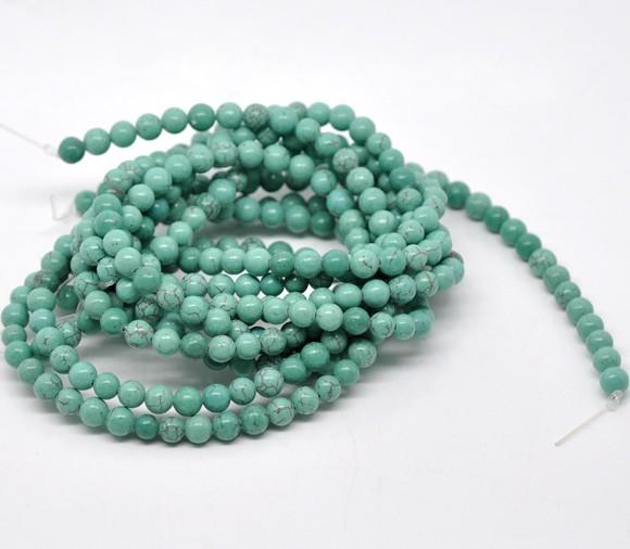 1 Strang (ca. 65 Perlen) Howlit Imitat Perlen 6 mm (ca. 63 Perlen / ca. 40 cm Länge)